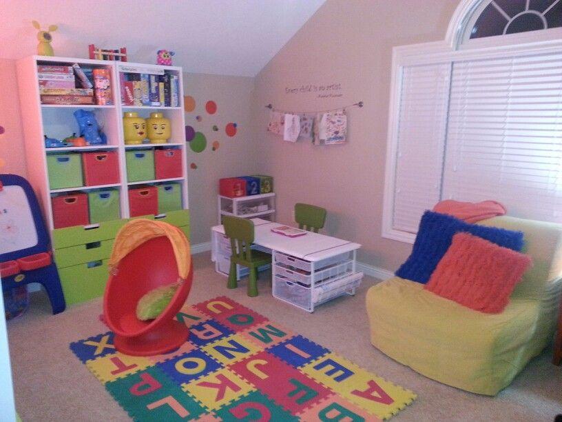 Kids Playroom In Primary Colors Kids Playroom Kids Rugs Playroom