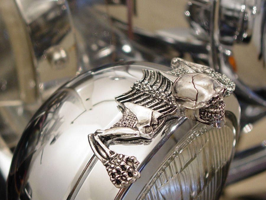 Wyatt Gatling Sm1932 Chrome Headlight Visor Ornament Skull Skeleton Harley Ebay Harley Softail Custom Motorcycle Parts Softail