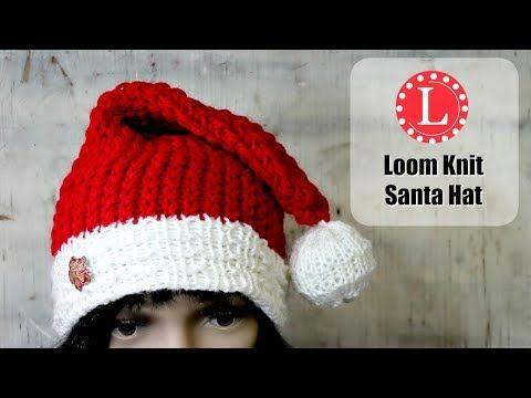 Loom Knitting Hat On A Round Loom Christmas Holiday Santa Hats