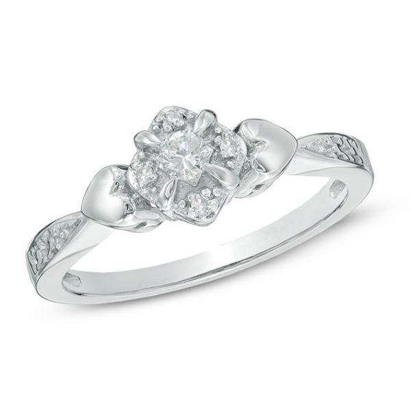 1 10 Ct T W Diamond Tilted Frame Promise Ring In 10k White Gold Diamond Promise Rings Promise Rings White Gold