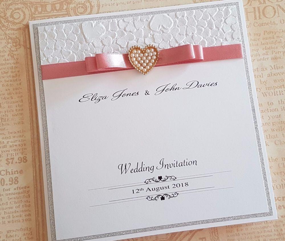 Handmade pocketfold Wedding invitations, embossed paper and diamante ...