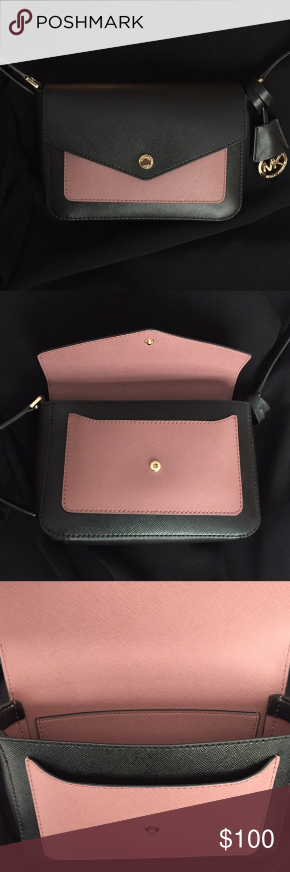 """Michael Kors Greenwich Colorblock Purse From MICHAEL Michael Kors Collection  • Bi-color in Dusty Rose and Black Saffiano leather, petite crossbody  • Extra space with an unlined interior • Adjustable crossbody strap with 20""""-23"""" drop • Fold-over flap with snap closure • Exterior features 18k gold-plated hardware and 1 front snap pocket • Interior features 1 slip pocket  Tried on, but it wasn't for me. All Tags included with Macy's return sticker as well as Michael Kors Dustbag and Care…"""