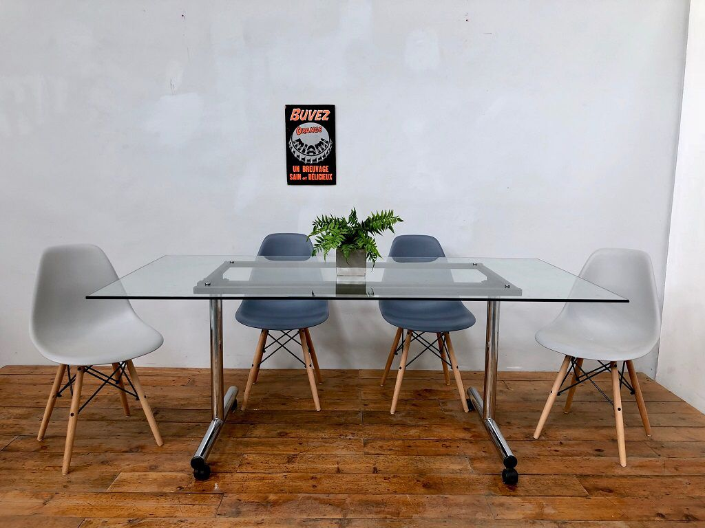 - 1970's Antocks Lairn Folding Glass Dining Table Glass Dining
