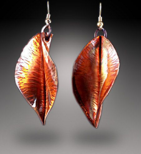 Copper Leaf Earrings copper leaves earrings copper by dlcgems