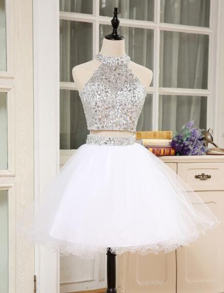 Shining 2 Piece Prom Dresses 2018 High Neck Crystal Beaded Puffy Short  Homecoming Dress For Graduation Vestido De Festa 3fe7fcc28