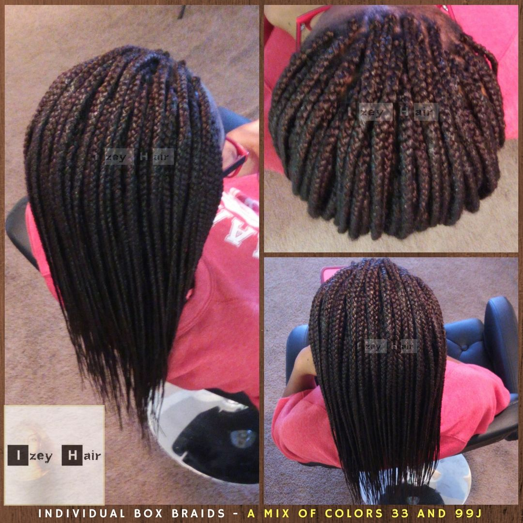Individual Box Braids A Mix Of Color 33 And Color 99j I Provide