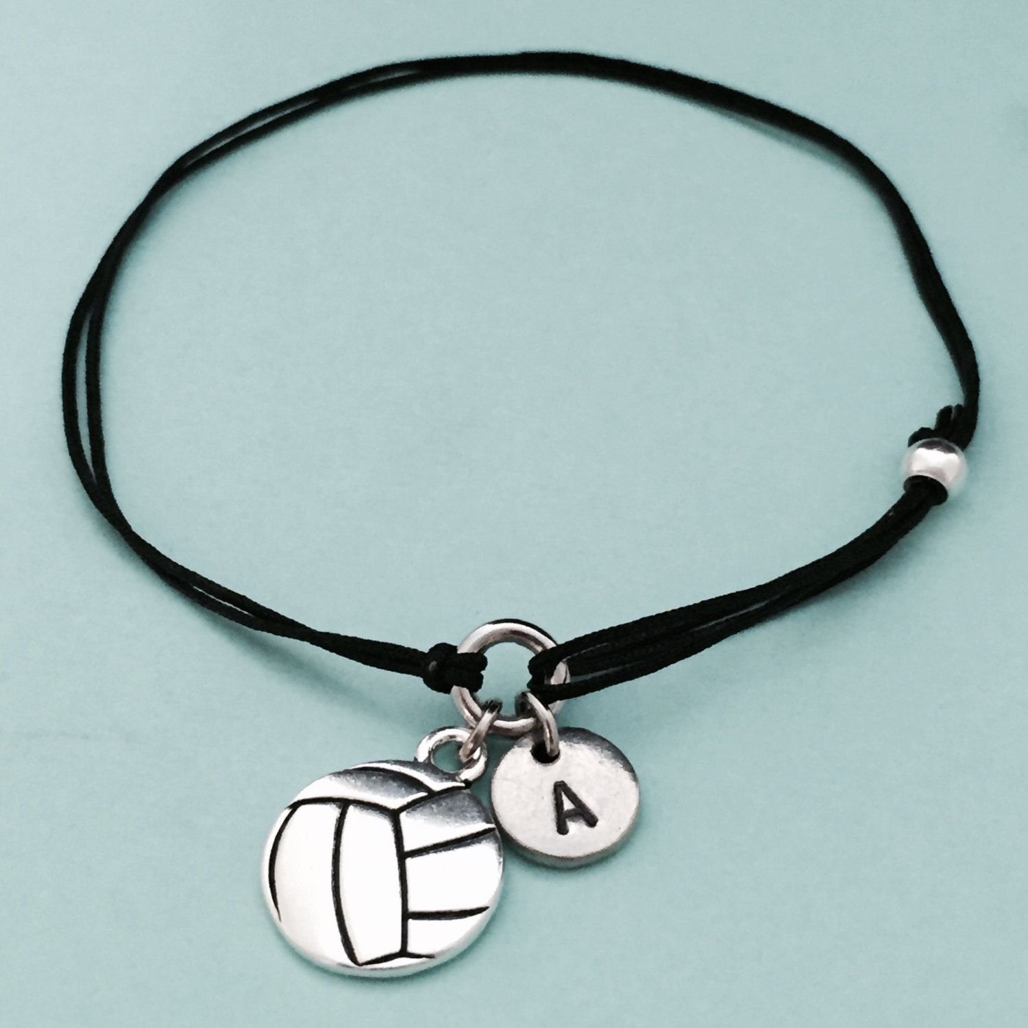 Volleyball Cord Bracelet Volleyball Charm Bracelet Adjustable Bracelet Charm Cord Bracelets Personalized Bracelets Adjustable Bracelet