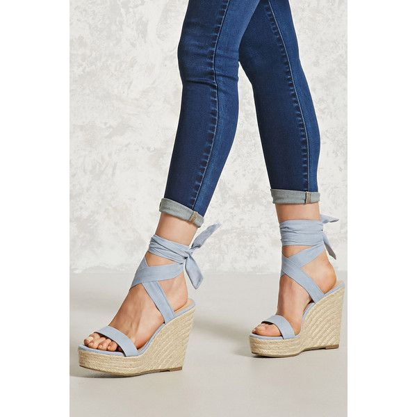 4f6b040fdd90 Forever21 Ankle-Wrap Espadrille Wedges ( 28) ❤ liked on Polyvore featuring  shoes