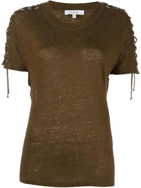 IRO lace-up sleeves T-shirt. #iro #cloth #flats