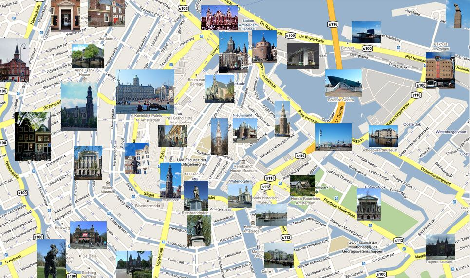 City Map Of Amsterdam Netherlands Map of Amsterdam with places of