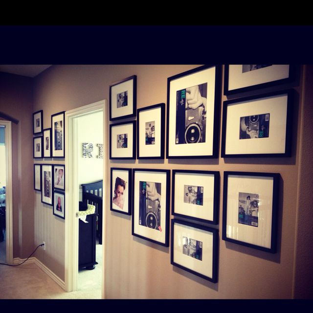 neutral wall color with black and white photos