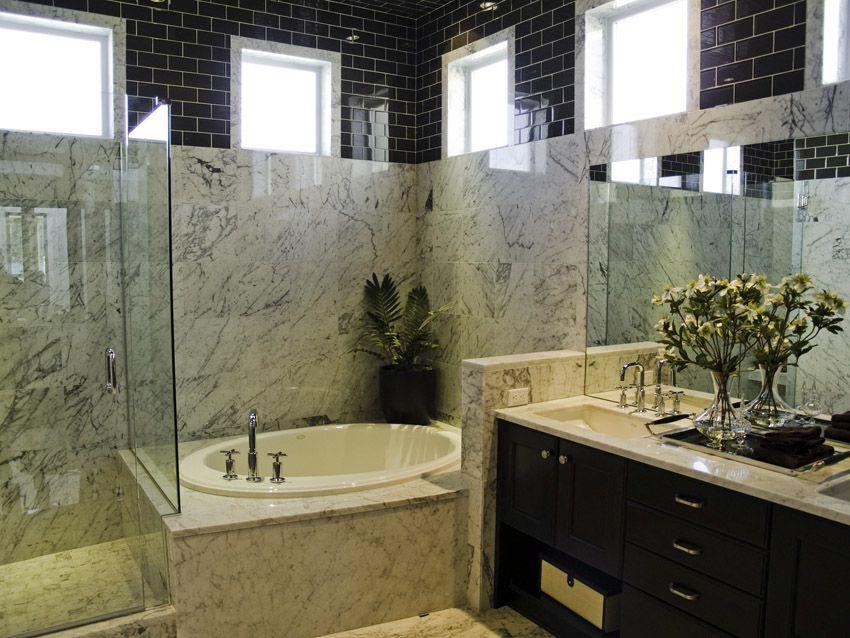 Very Large Bathroom With Upper Wall In Black Subway Tile Bathroom Remodel Cost Bathrooms Remodel Shower Remodel