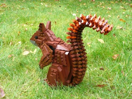 Red Squirrel made of Lego, by The Vuurzoon Family