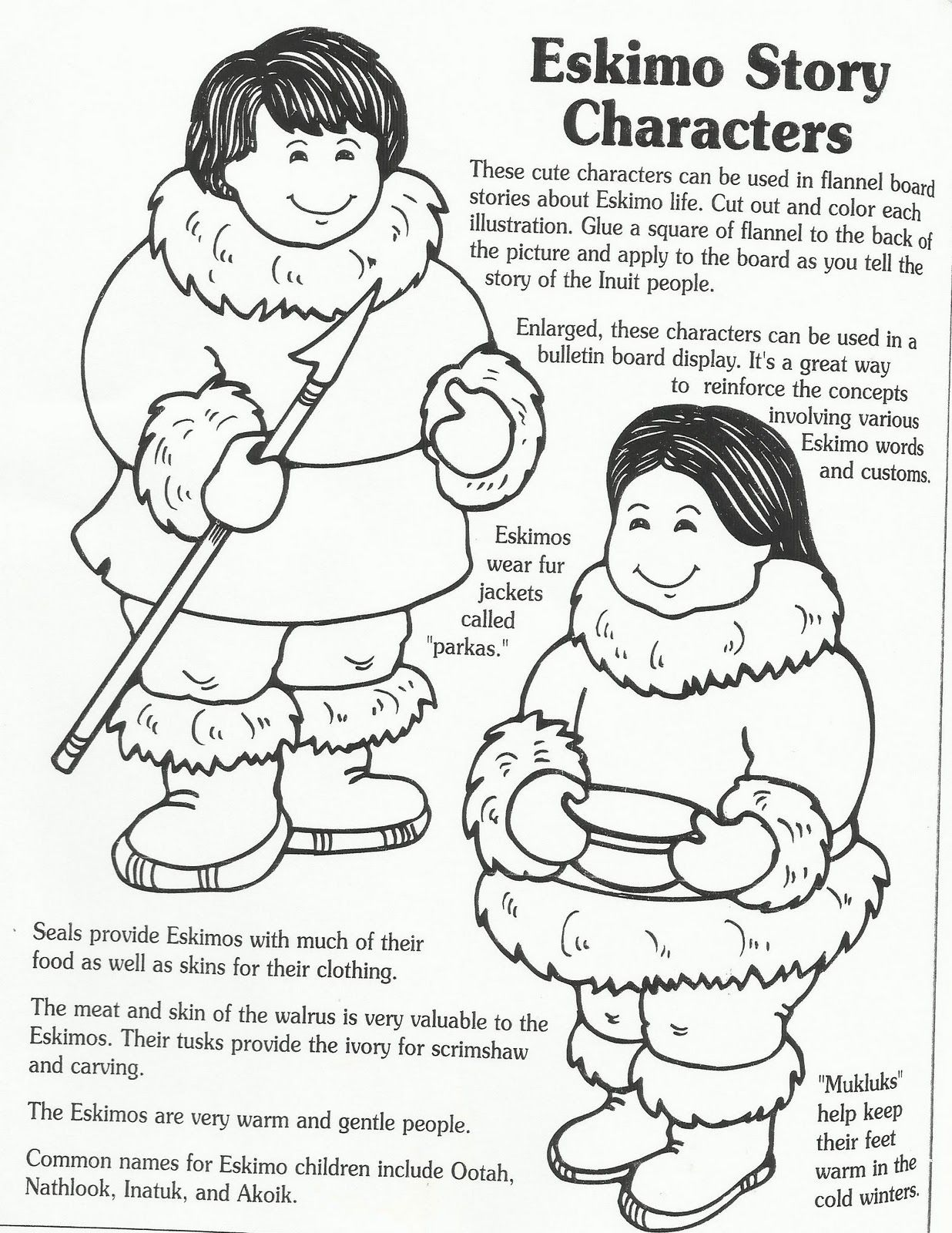 Eskimo Story Characters | Daycare - Printable\'s | Pinterest