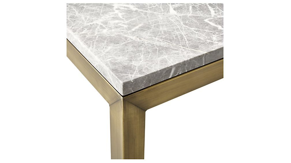 Parsons Grey Marble Top Brass Base 20x24 End Table Stone Coffee Table Marble Top Table