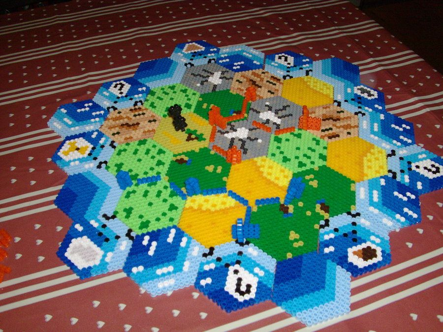 Fuse Bead Settlers of Catan board and game components by Moosecastle on deviantart