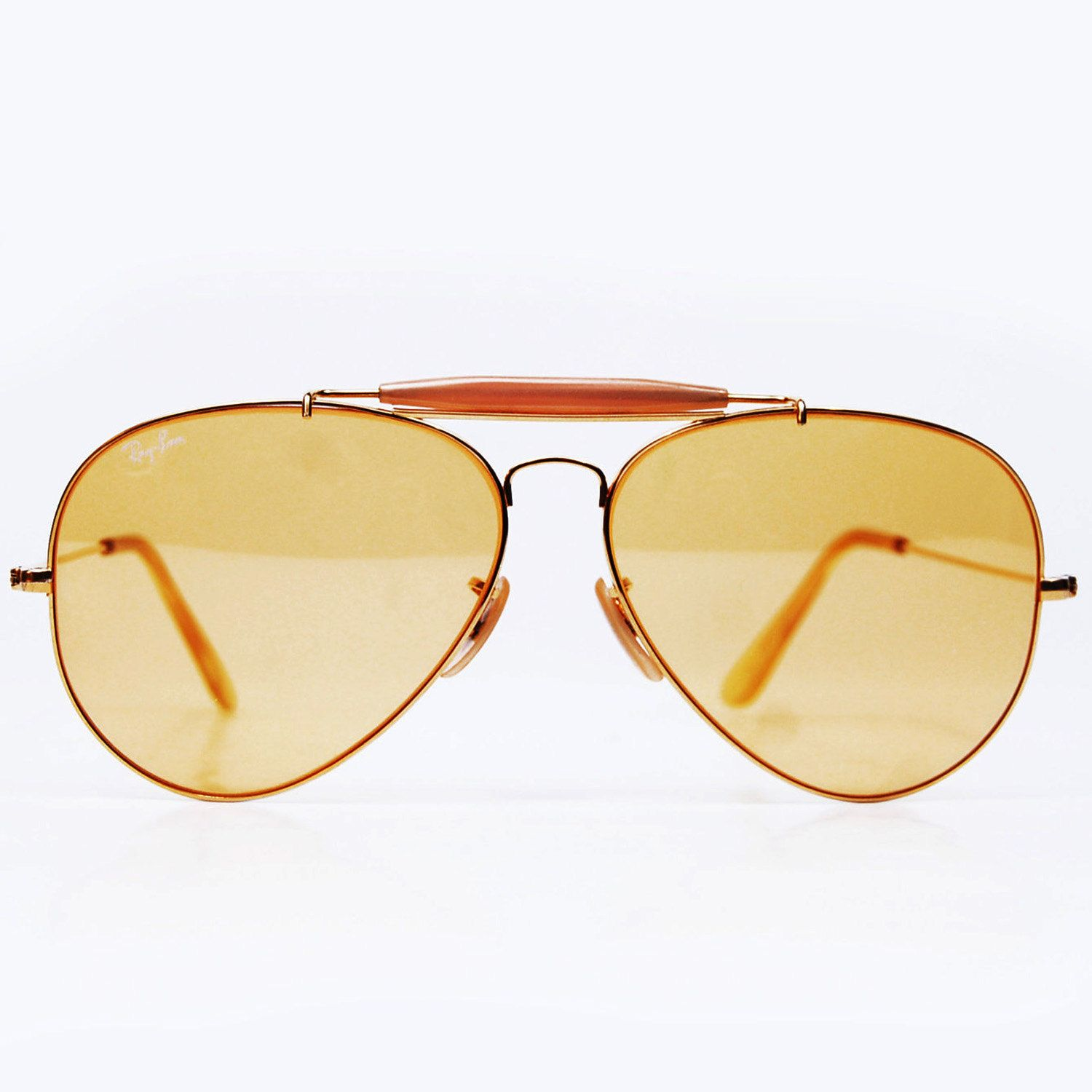 7962e86c366 Vintage Ray Ban Sunglasses. Bausch and Lomb Ambermatic Yellow Aviators 62mm