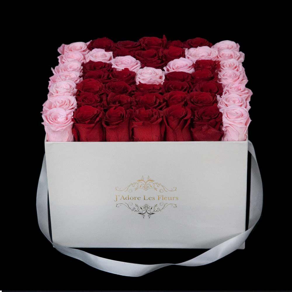 Jlf Everlasting Initial M Rose Square Box Preserved Roses Square Rose