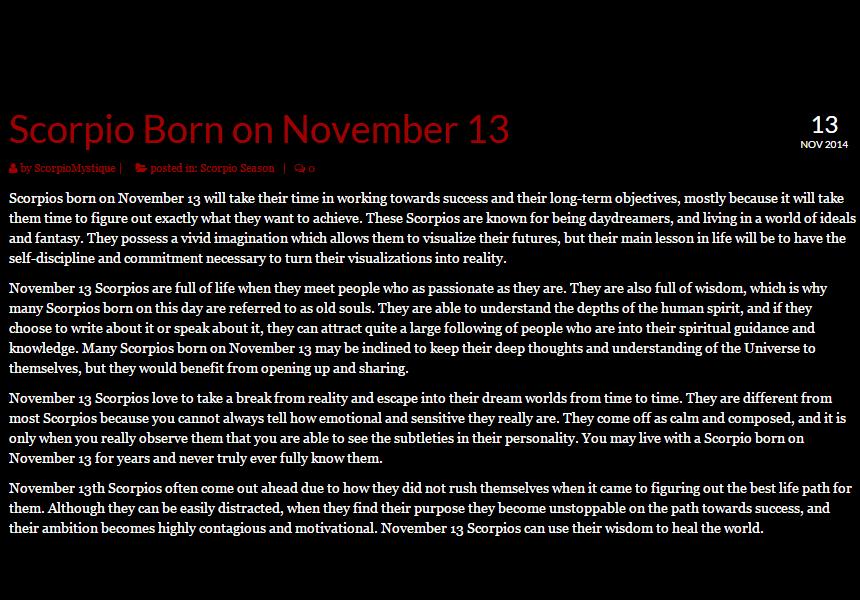 astrology november 13 birthday horoscope