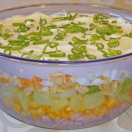 Fruchtig - pikanter Schichtsalat von Fee86 | Chefkoch