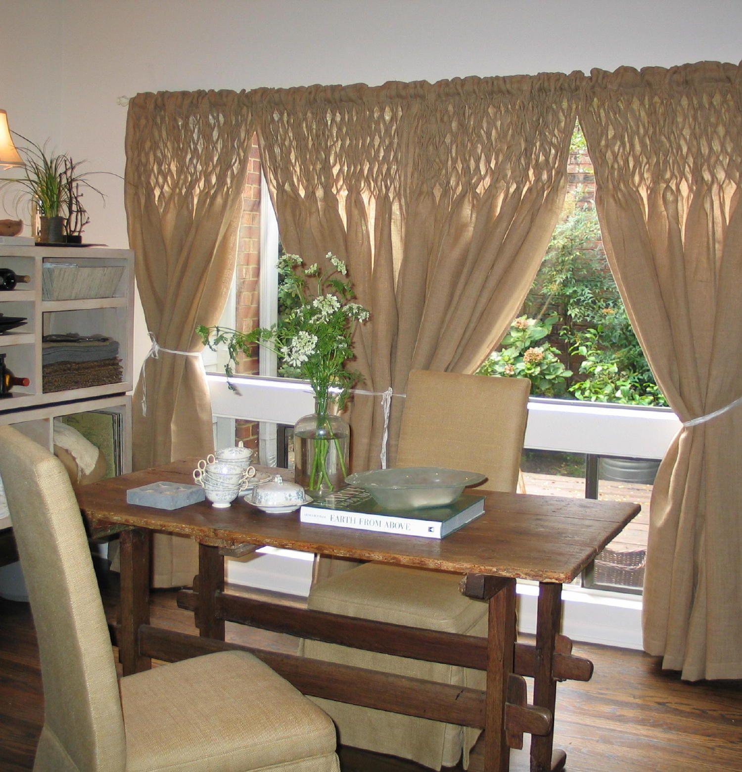 Hand Smocked Jute Curtain Panel Home Decor Decor Country Decor