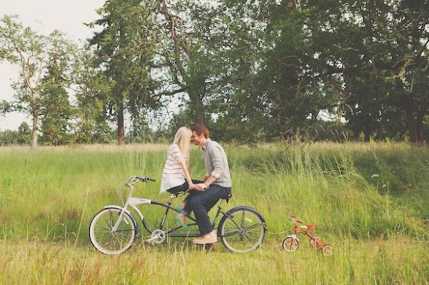 Bicycle Built for Two with Tricycle Pregnancy Announcement – Indiana Birth Announcements