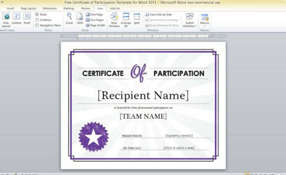 certificate of participation seminar templates sample - Resume Templates For Word 2013
