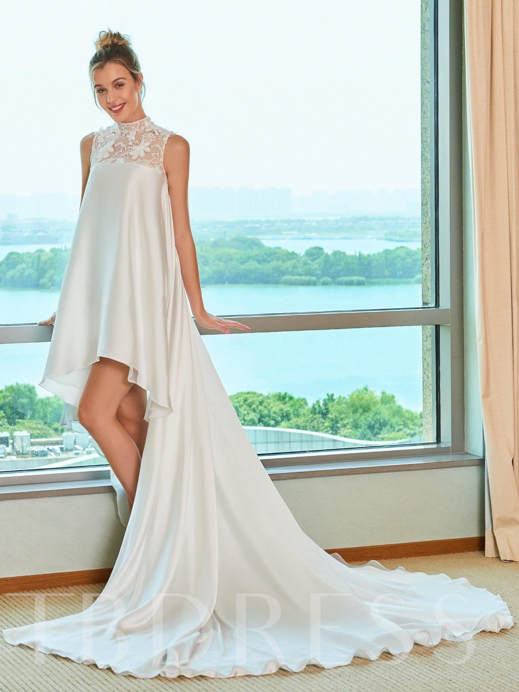 High Neck Lace Asymmetry Beach Wedding Dress Wedding Dresses