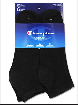 Champion Mens Double Dry Performance Low-Cut Socks 6-Pack