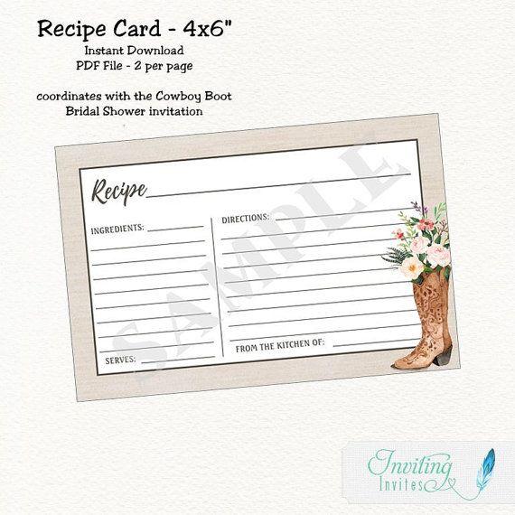 Recipe Card - Bridal Shower - Rustic Cowboy Boot - Instant Download