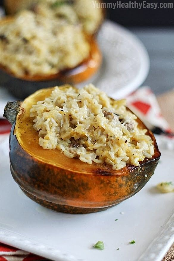 Stuffed Acorn Squash Baked Acorn Squash Are Stuffed With A