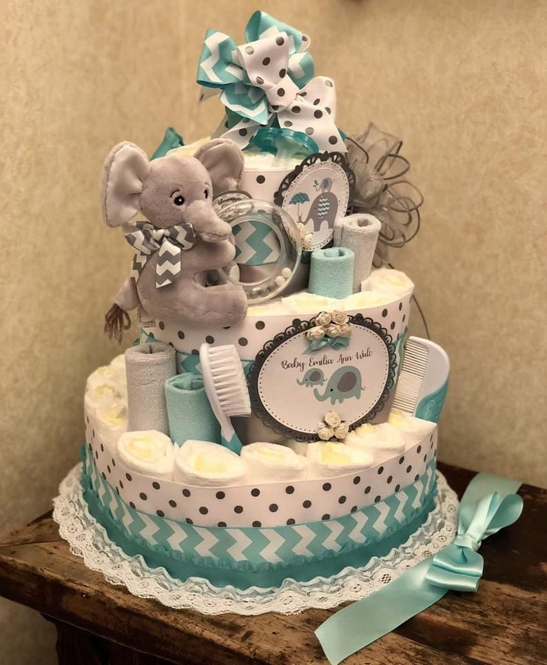 4 tier elephant diaper cake baby boy diaper cake baby