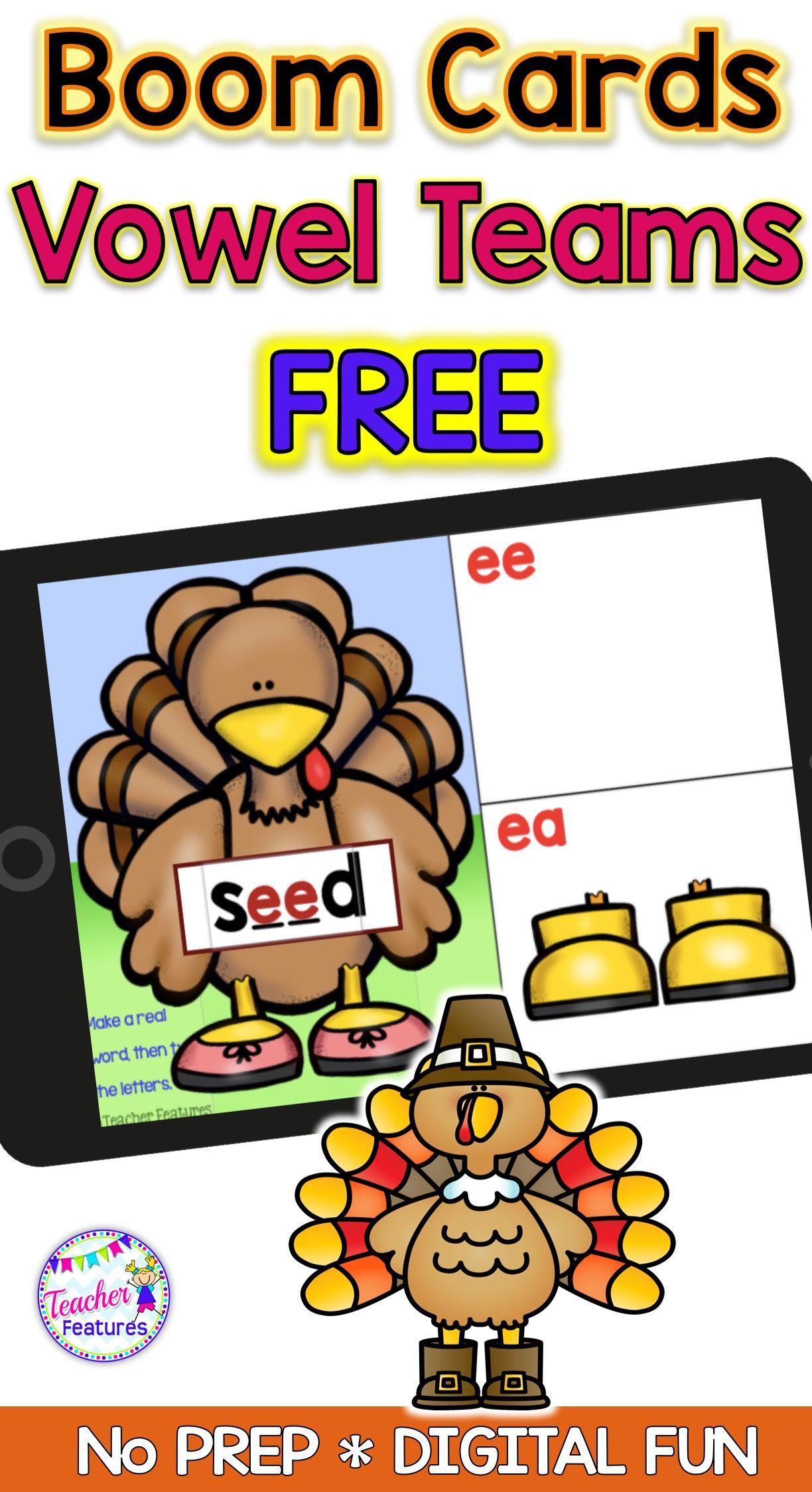 Free Thanksgiving Boom Cards Vowel Teams Ee Ea