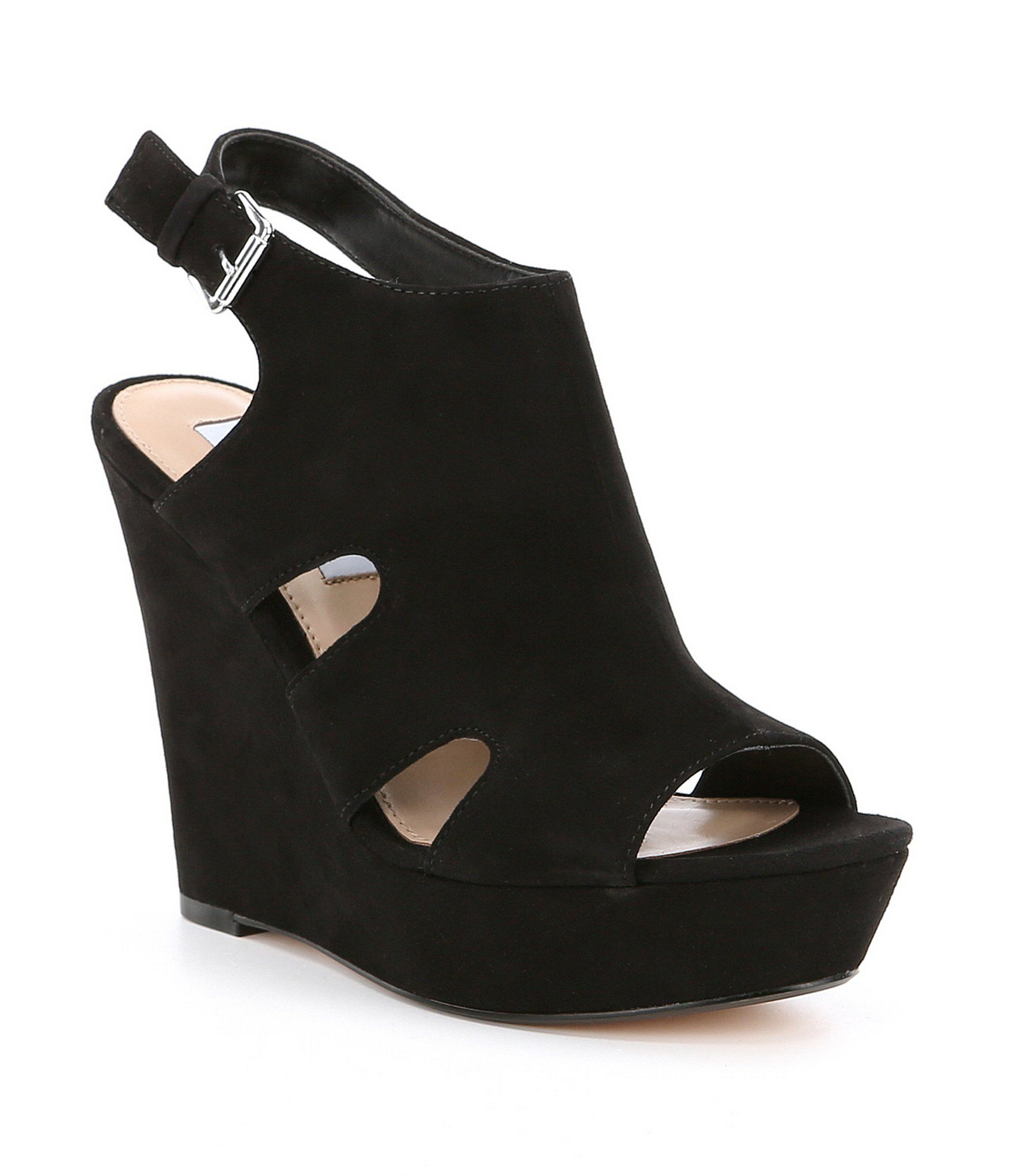 New Fashion Shoes Women Steve Madden Emmy Suede Buckle Closure Wedges Black Suede