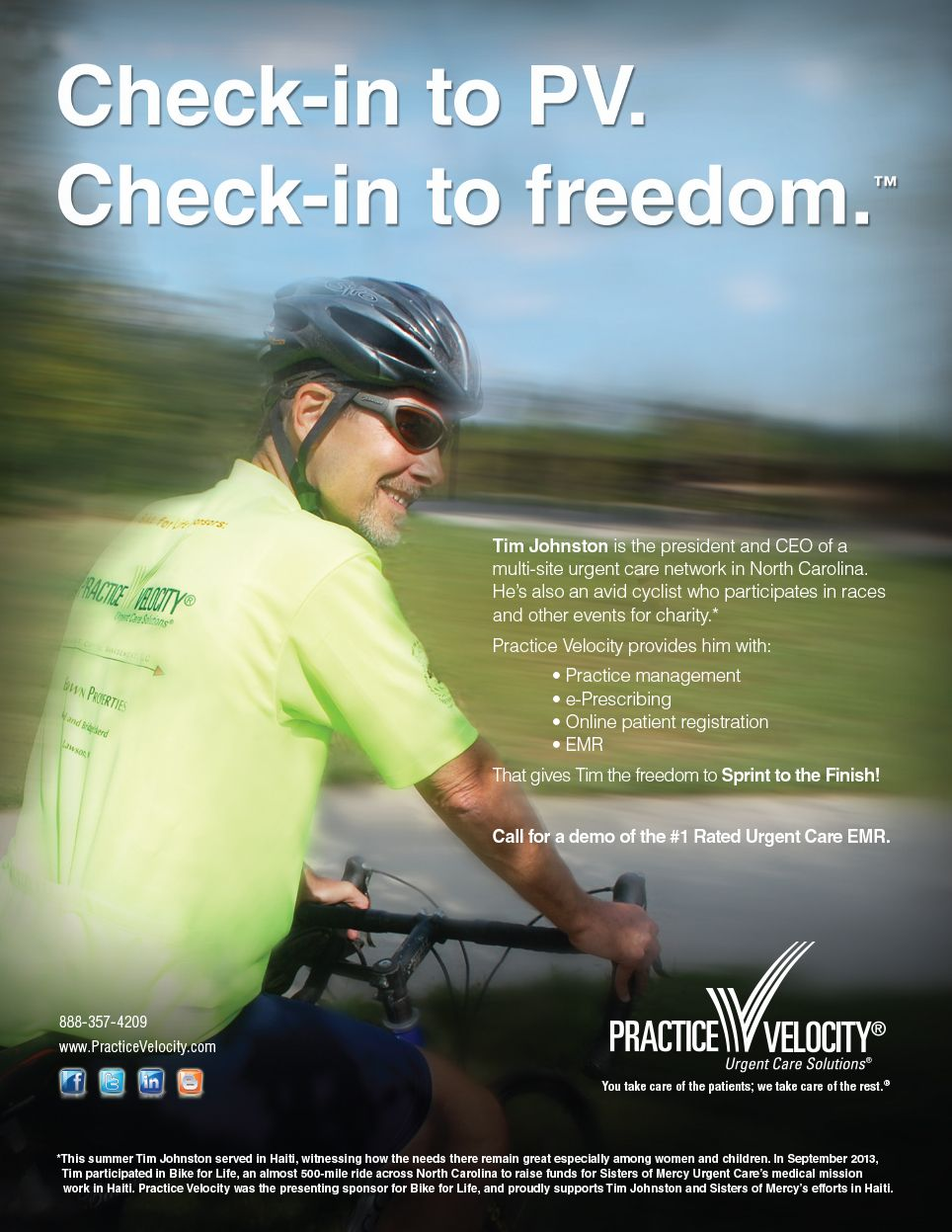 Practice Velocity ad for October 2013 features Tim