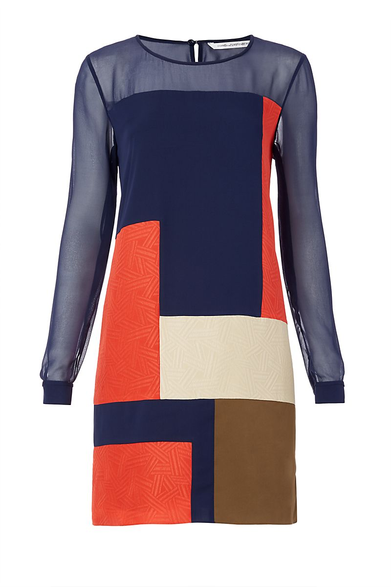 This colorblock dress features a mix of colors and textures, opaque and sheer, for a chic look that makes an impact. With back keyhole closure at the neck.