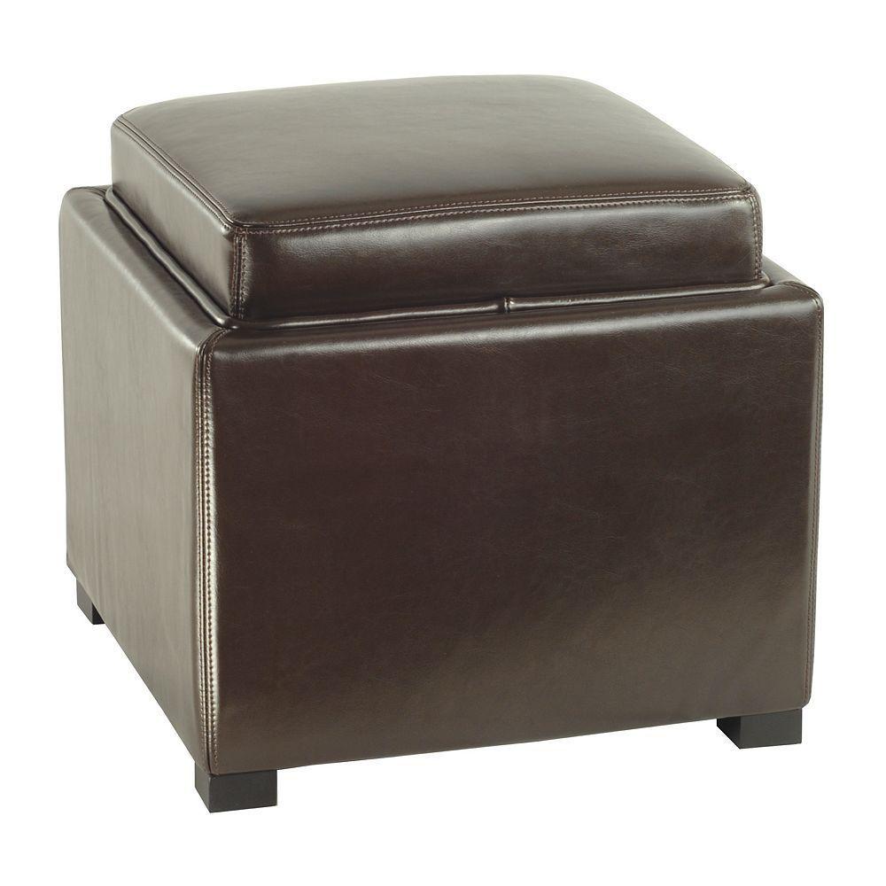 Safavieh Bobbi Leather Tray Storage Ottoman Brown
