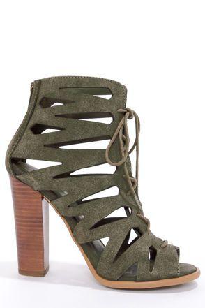 Cute Peep Toe Heels - Suede Heels - High Heel Sandals - $89.00