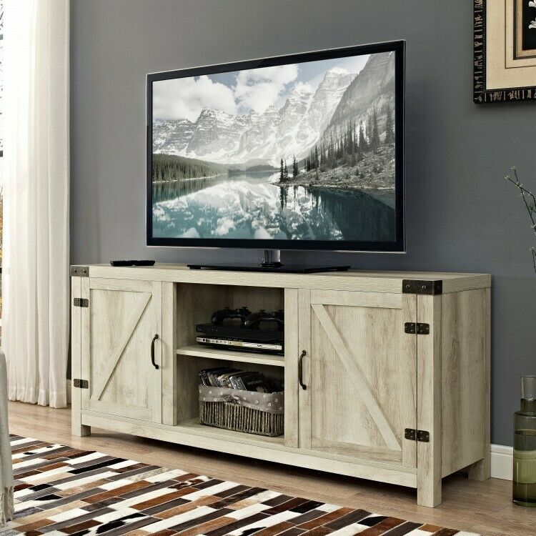 Flat screen tv stand wood 65 inch white television