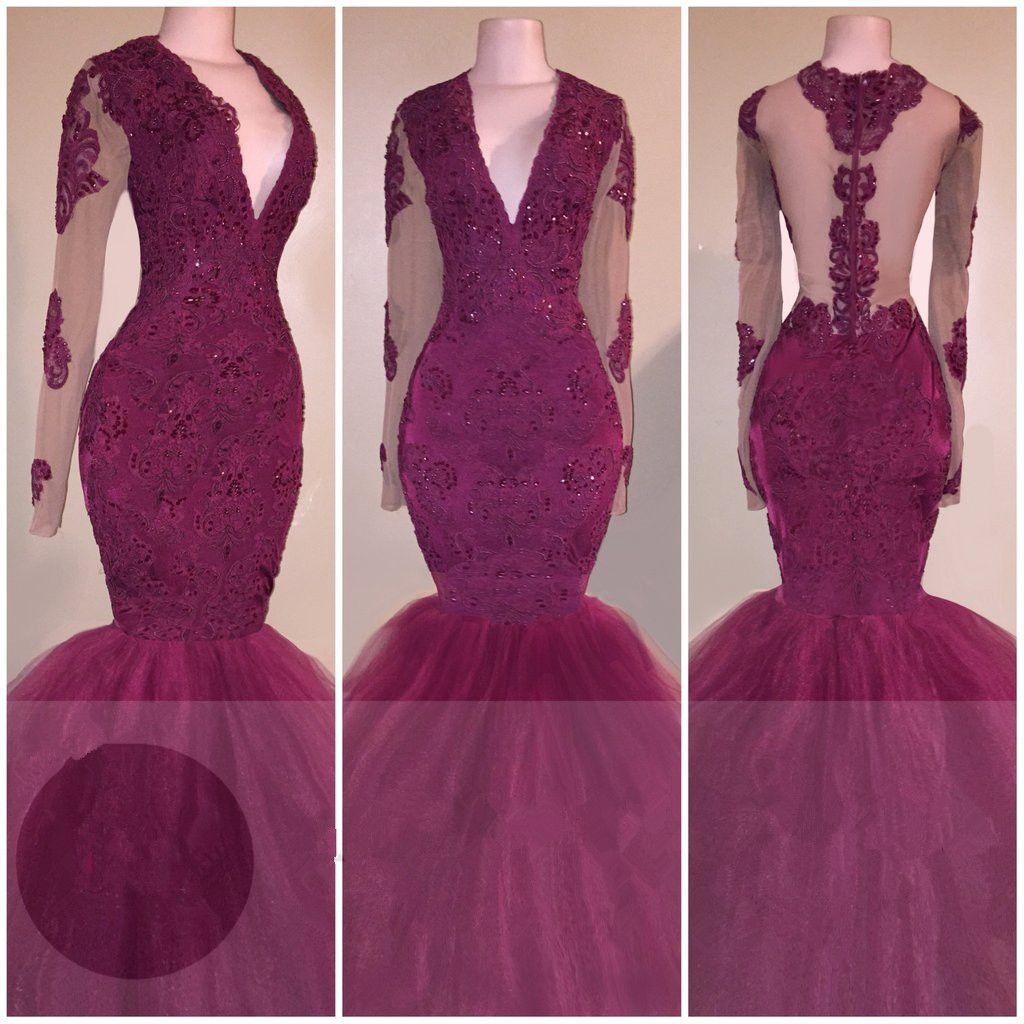 Vneck longsleeves tulle mermaid burgundy beaded appliques prom