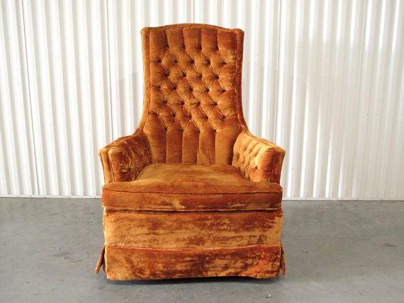 Vintage Crushed Velvet High Back Armchair Burnt Orange Upholstery Made By Stratford Via Cathodeblue On Etsy 8 High Back Armchair Armchair Armchair Vintage