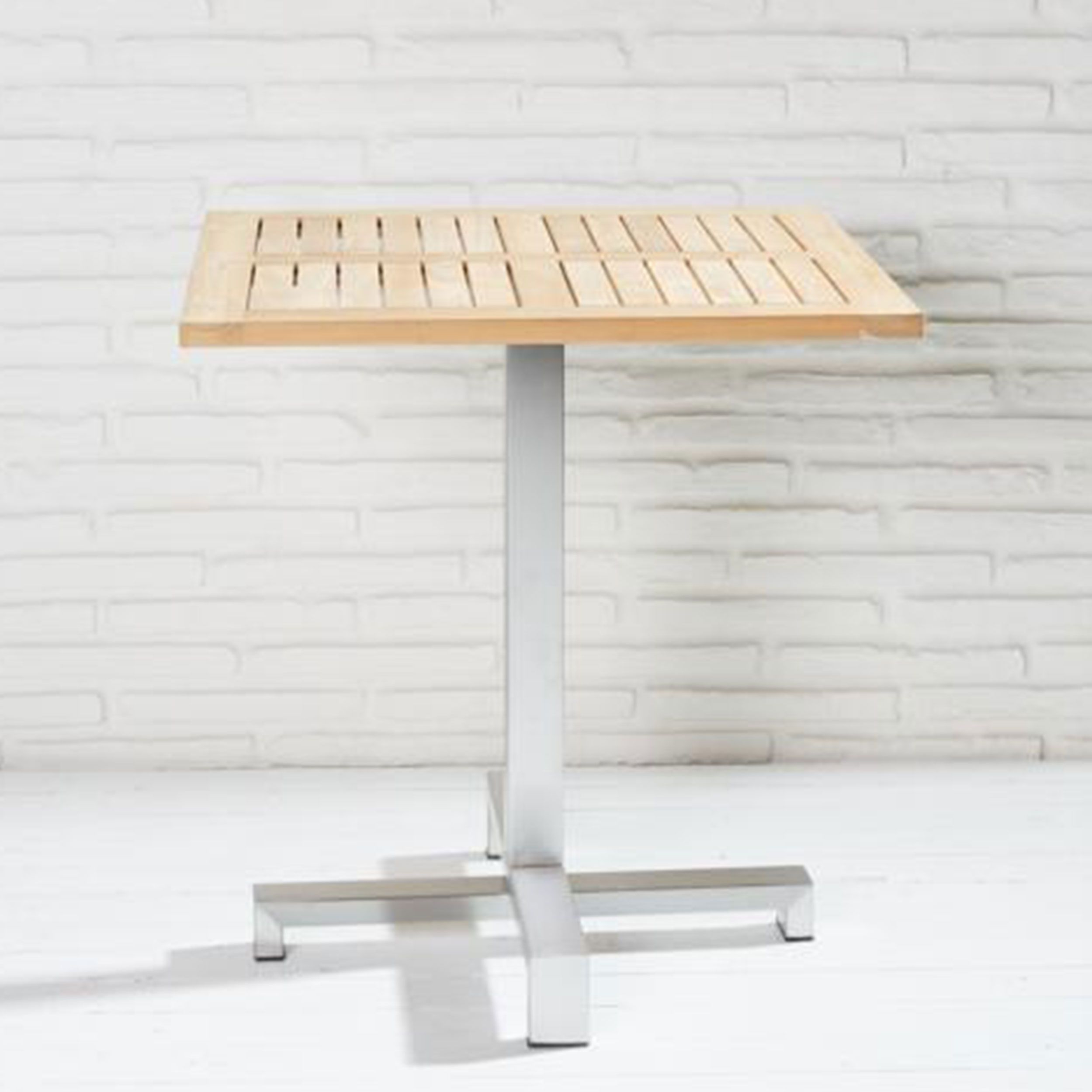 Bistrotisch Gartentisch Quadratisch Teakholz Edelstahl 70x70x75cm