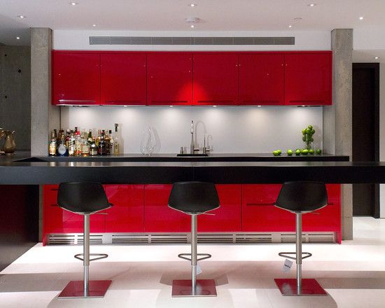 Extraordinary Floating Breakfast Bar Contemporary Basement Cantilevered Floating Breakfast Bar Red Color A Home Bar Designs Stylish Kitchen Kitchenette Design