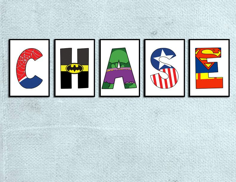 Individual Superhero Character letters -Digital File by - character letter