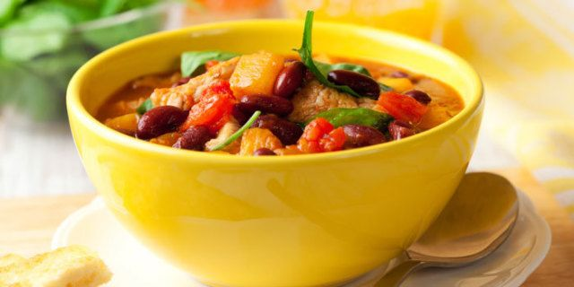 Healthy vegetarian chili recipe made with pumpkin and vegetables.