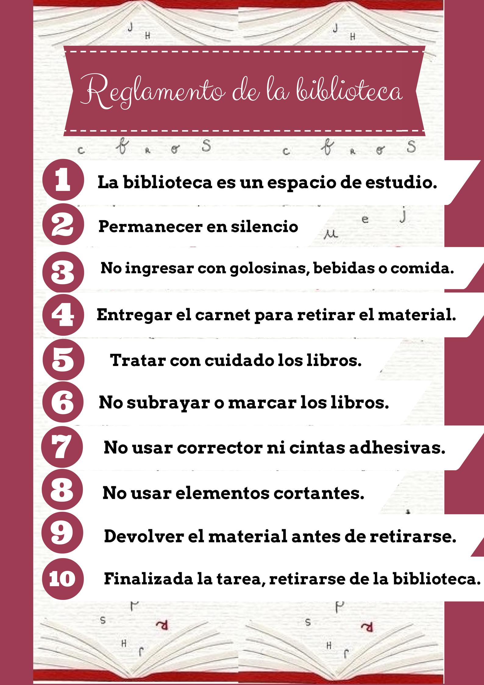 Reglamento de la biblioteca library ideas pinterest for 10 reglas para el salon de clases en ingles