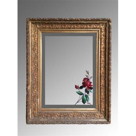 Specchiera dorata con delizioso decoro floreale dipinto a mano sullo specchio realizzata nei - La mano sullo specchio ...
