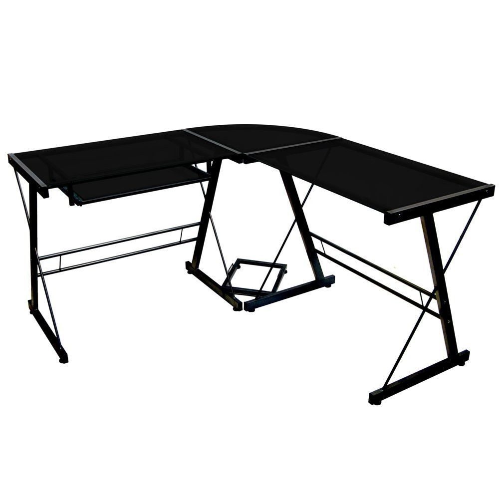 This Modern Corner L-Shaped Metal Glass Top Computer Desk offers a sleek modern design crafted with durable steel and thick tempered safety glass. The L-shape provides a corner wedge for more space an