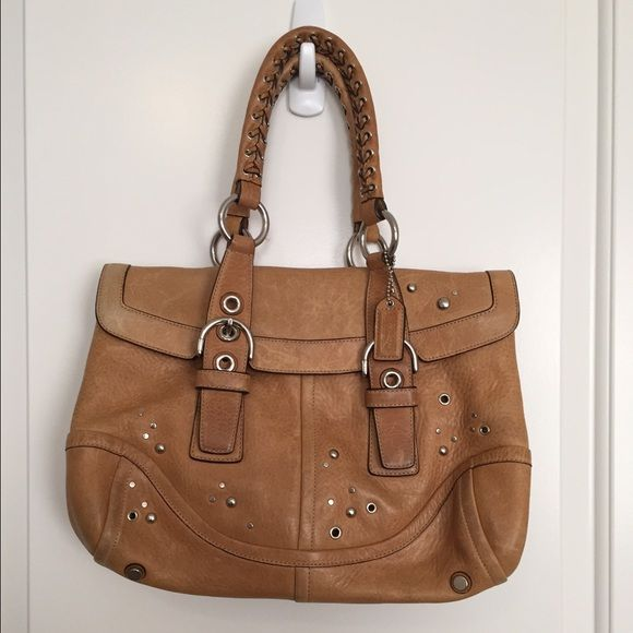 Authentic Coach Leather Satchel Authentic Leather Coach Shoulder Bag/Satchel. EUC -- beautiful leather still in great condition. This is a beautiful bag that is the perfect carry-all for your everyday needs. Would fit all tablets and some small laptops, as well as all of your everyday essentials. Feel free to make me an offer :) Coach Bags Satchels