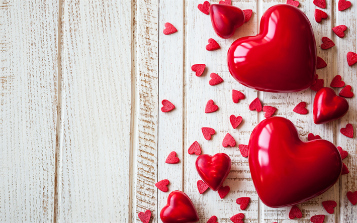 Download Wallpapers Hearts Wooden Background Red Heart Romantic Valentine Day Besthqwallpapers Com Heart Wallpaper Valentine Heart Pictures Red Heart